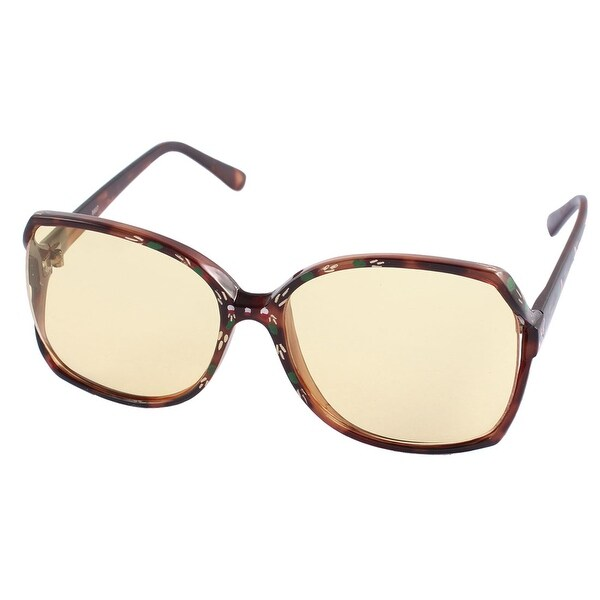 Women Plastic Flower Printed Full Frame Rectangle Lens Sunglasses - Brown. Opens flyout.