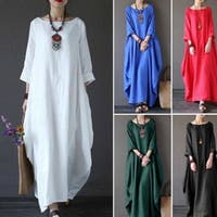 Summer Women's Casual Round Neck Long-sleeved Dress Long Skirt National Wind
