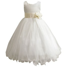 Wedding Easter Flower Girl Dress Wallao Ivory Rattail Satin Tulle (Baby - 14) Ivory