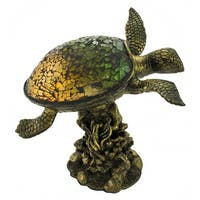 Green Crackle Glass Sea Turtle Accent Lamp