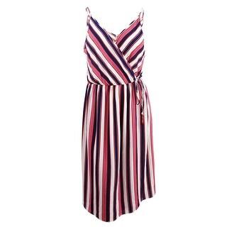 Soprano Women's Trendy Plus Size Striped Faux-Wrap Dress (1X, Navy/Ivory) - Navy/Ivory - 1x