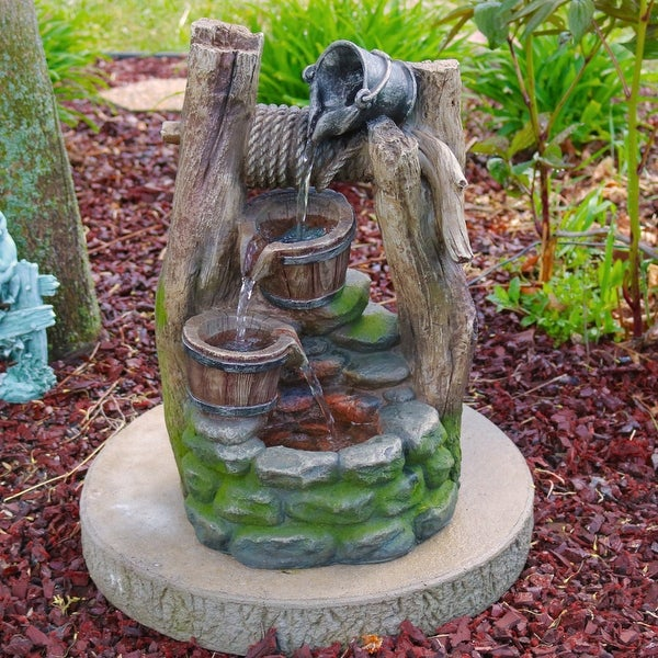Sunnydaze Wishing Well with Cascading Buckets Fountain with LED - 19 Inch Tall
