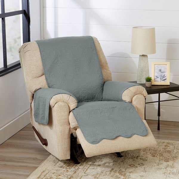 Great Bay Home Elenor Solid Reversible Recliner Furniture Protector