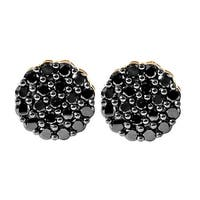 Prism Jewel 1.00Ct Round Black Diamond Cluster Earring With Screw Back