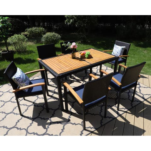 """PHI VILLA 7 Piece Outdoor Dining Set for 6, 60"""" Rectangular Wood Top Metal Frame Dining Table & 6 Cushioned Rattan Chairs"""