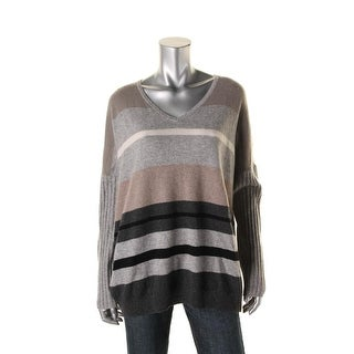 Sutton Studio Womens V-Neck Multi-Stripe Sweater - L