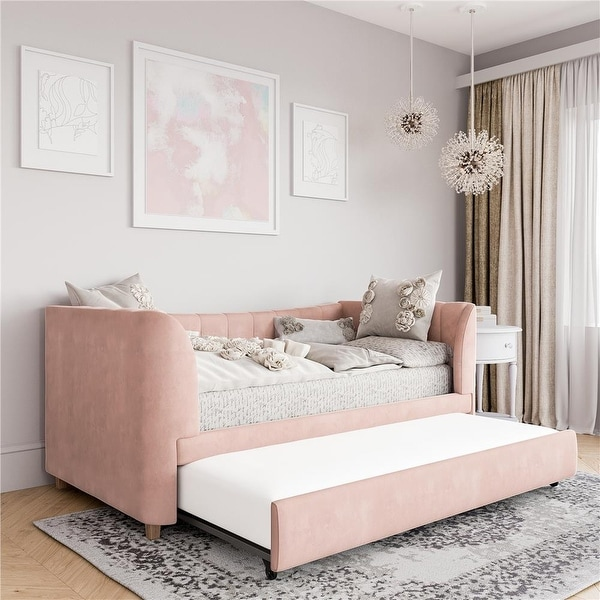 Little Seeds Valentina Upholstered Twin Daybed with Trundle. Opens flyout.