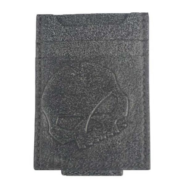 """Harley-Davidson Men's Skull Graphite Leather Front Pocket Wallet UN4650L-GRYBLK - 2.75"""" x 3.75"""""""
