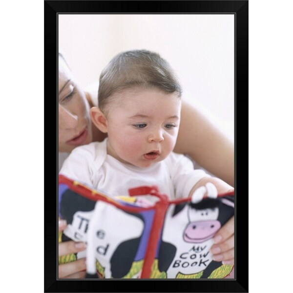 """""""Mother reading to baby boy"""" Black Framed Print"""