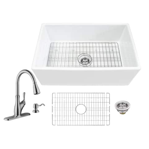 Soleil All-In-One White Fireclay Farmhouse Apron Front Single Bowl Kitchen Sink with Pull Out Kitchen Faucet