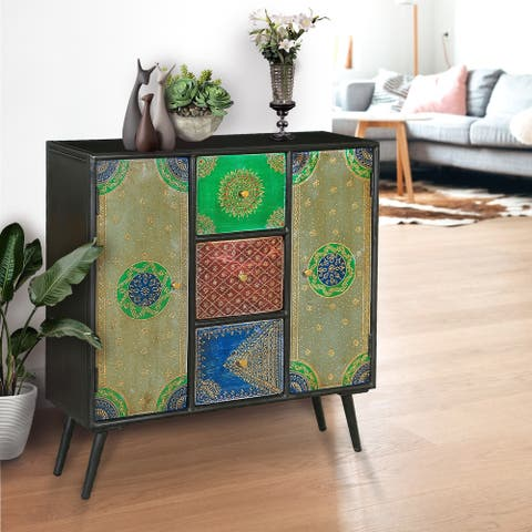 Chic Teak Madagascar Mango Wood Cabinet with 3 Drawers and 2 Doors