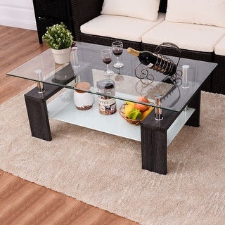 Costway Black Rectangular Tempered Glass Coffee Table W/Shelf Wood Living  Room Furniture Part 70