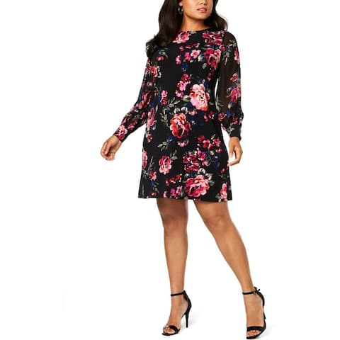 MSK Women Womens Plus Party Dress Mini Floral