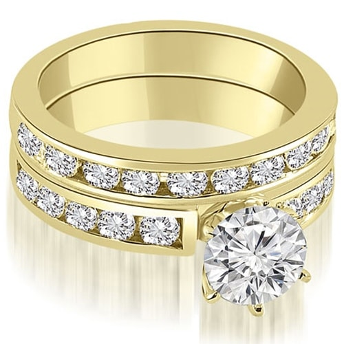 2.55 cttw. 14K Yellow Gold Classic Channel Set Round Cut Diamond Bridal Set