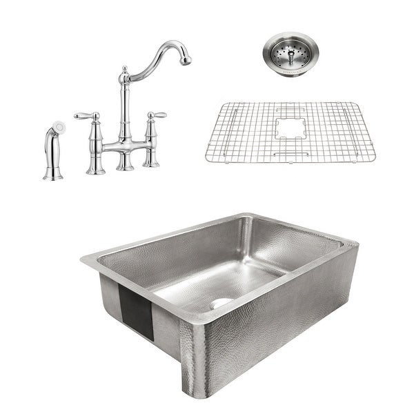 Percy Apron-Front Polished Stainless Steel 32 in. Single Bowl Kitchen Sink with Pfister Chrome Bridge Faucet All-in-One Kit. Opens flyout.