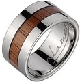 Titanium Wedding Band With Koa Wood Inlay & Wide Edges 10 mm - Thumbnail 0