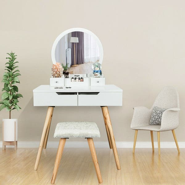 31 Cutey Bedroom Dressing Table Makeup Vanity Table With Stool Set Overstock 28177729 White