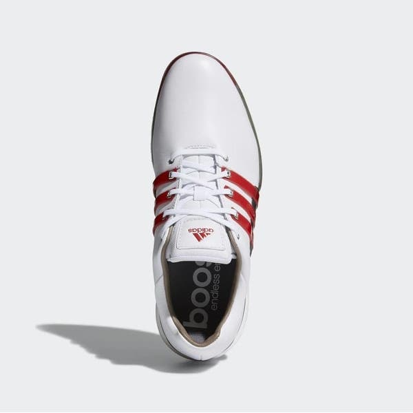 Shop New Men S Adidas Tour 360 Boost 2 0 Golf Shoes Cloud White Scarlet Dark Silver Metallic F33625 Overstock 28415294
