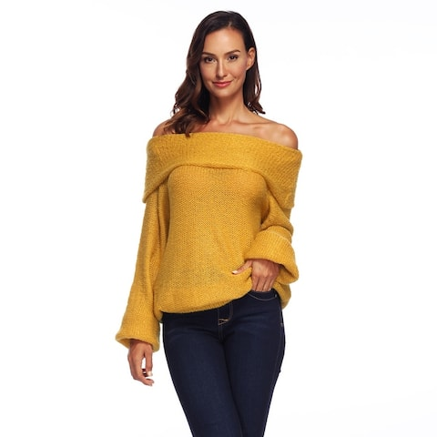 Womens Sweater Off Shoulder Knit Jumper Long Sleeve Pullover Solid Sweater
