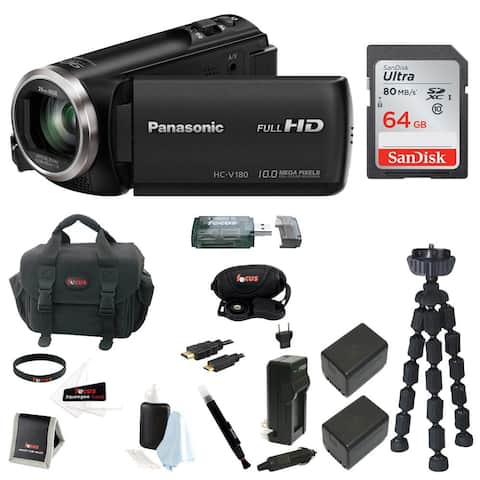 Panasonic V180 Full HD Camcorder with 64GB Card, Battery & Charger Kit