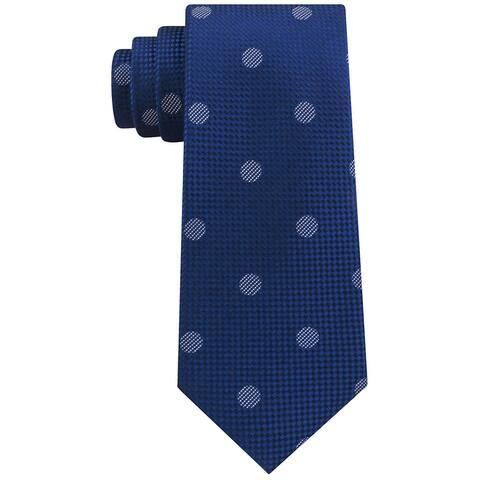 Sean John Mens Checkered Textured Dot Silk Tie Navy