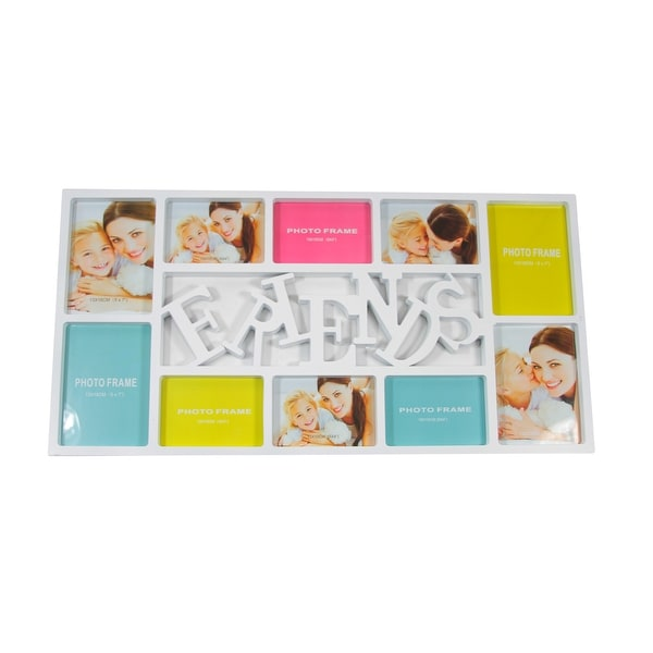 """28.75"""" White Dual-Sized """"Friends"""" Photo Picture Frame Collage Wall Decoration"""