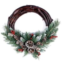 "16"" Unlit Frosted Grapevine Artificial Christmas Wreath - green"