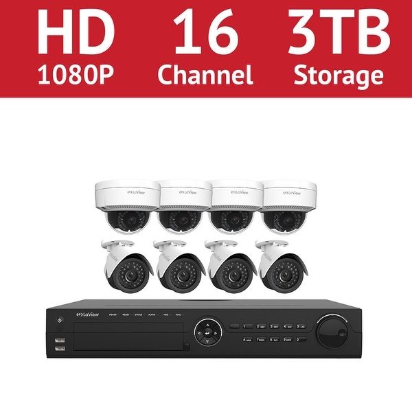 LaView 16 Channel 1080p IP NVR with (4) 1080p Bullet Cameras and (4) 1080p Dome Cameras and a 3TB HDD