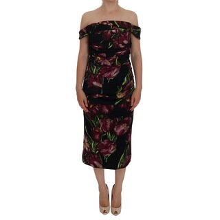 Dolce & Gabbana Black Silk Stretch Purple Tulip Dress - it46-xl