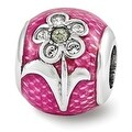 Sterling Silver Reflections Pink Enameled with Swarovski Elements Flower Bead (4mm Diameter Hole) - Thumbnail 0