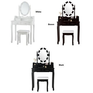Link to Costway Vanity Table Table 10 Dimmable Bulbs Black White Brown Similar Items in Bedroom Furniture