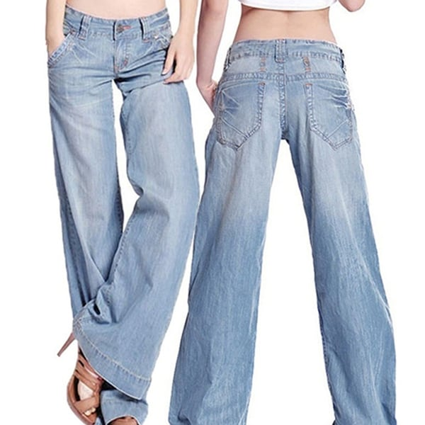 3c387027f4 Women's Fashion Slim Temperament Casual Vintage Wide-legged Jeans  Flared Trousers
