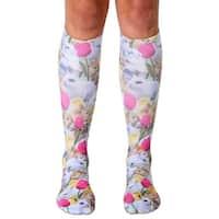 Easter Bunnies Photo Print Knee High Socks - White