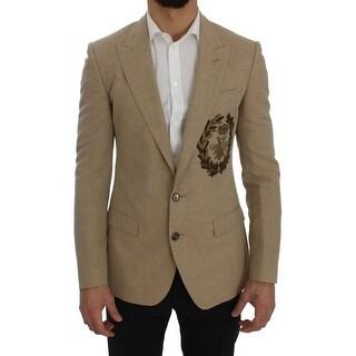 Dolce & Gabbana Dolce & Gabbana Beige Slim Fit Bee Crown Blazer Jacket