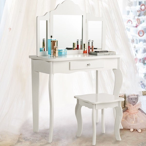 Costway Vanity Table Set Makeup Dressing Table Kids Girls Stool Mirror    White
