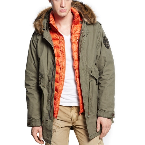 Jet Lag Faux Fur-Trimmed 3-In-1 Hooded Parka & Jacket Medium M Army Green