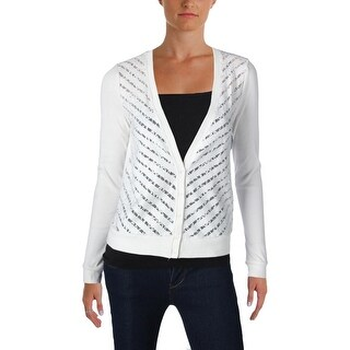 Three Dots Womens Cardigan Top Lace Front Button Front