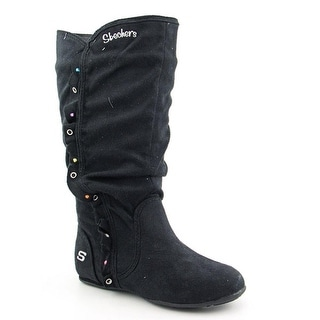 Skechers Tini Youth Round Toe Canvas Black Boot