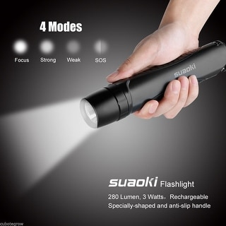 5000LM XM-L T6 LED Tactical Zoomable Flashlight Torch Light Lamp+26650+Charger - Black