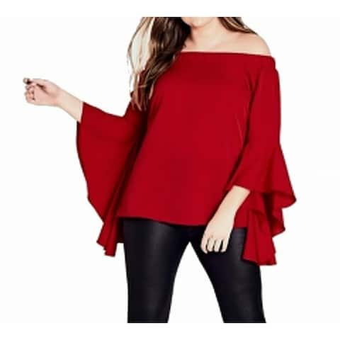 City Chic Women's Blouse Red Size 20W XXL/20 Bell Sleeve Off Shoulder