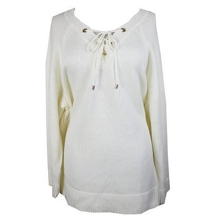 Calvin Klein Plus Size White Laced-Up Grommet Mix Soft Sweater 3X