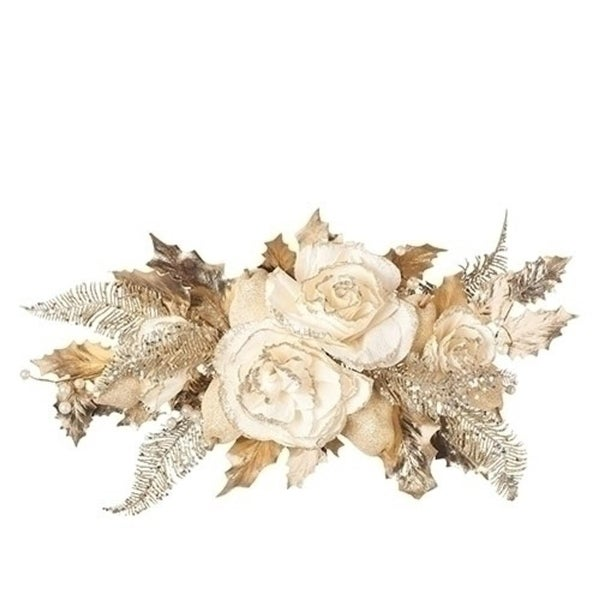 """24"""" Floral Glitter Pearls Swag Ivory Champagne - brown"""