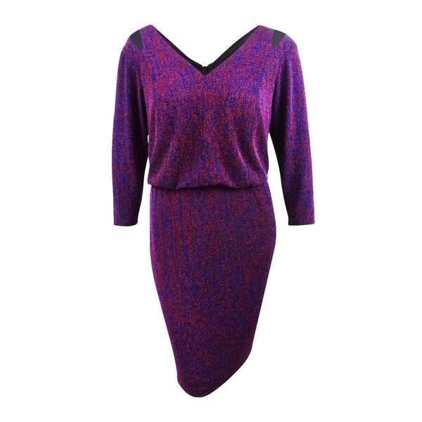 Calvin Klein Women\'s Plus Size Metallic Blouson Dress - Red/Ultramarine