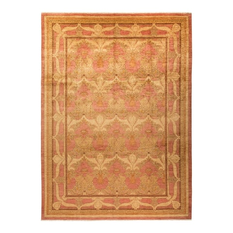 """Arts & Crafts, One-of-a-Kind Hand-Knotted Area Rug - Pink, 9' 10"""" x 13' 6"""" - 9' 10"""" x 13' 6"""""""