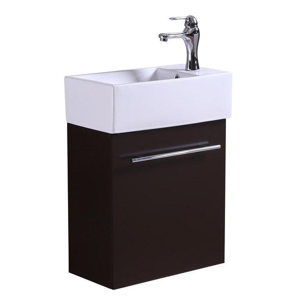 Shop White Bathroom Sink With Brown Vanity Cabinet, Towel