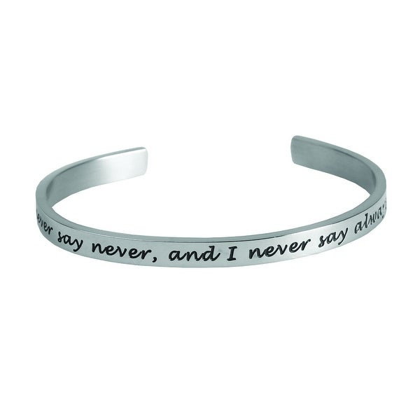 Women's Famous Women's Quotes Cuff Bracelet - Never Say Never - Grace Kelly - Silver