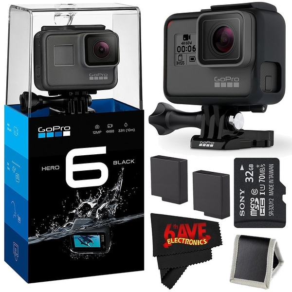 GoPro HERO6 Black + 32GB Class 10 Micro SDHC Memory Card + (2) Rechargeable Batteries Accessory Combo