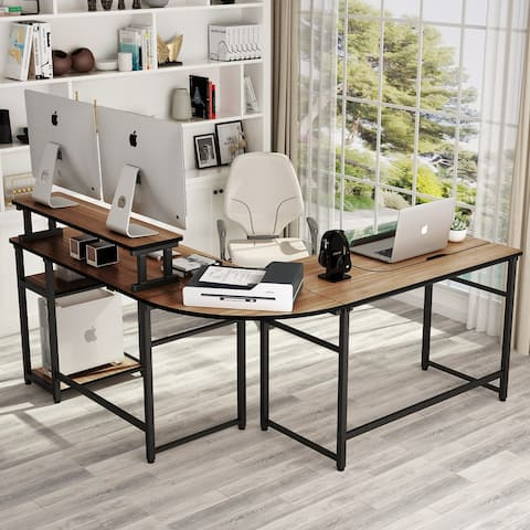 Extral Large L-Shaped Computer Desk with Monitor Stand Riser Drafting Table