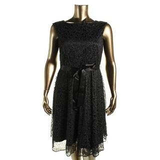 Tahari ASL Womens Lace Glitter Cocktail Dress