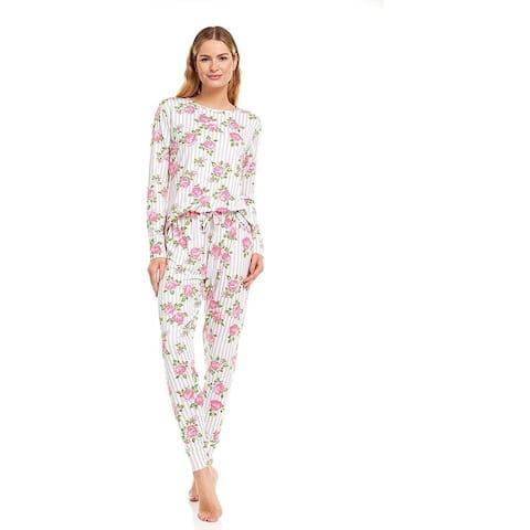 Essential Elements Womans Crew Neck Double Brushed Pajama Pants Set